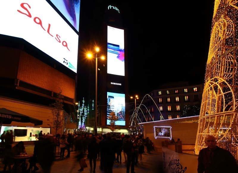 Callao con Calle del Carmen, en Navidad.